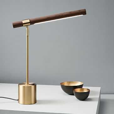 Linear Wood Table Lamp + USB, Walnut-individual - West Elm