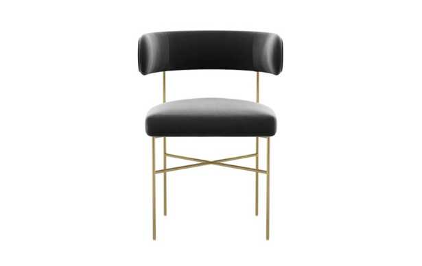 Audrey Dining Chair with Narwhal Fabric and Matte Brass legs - Interior Define