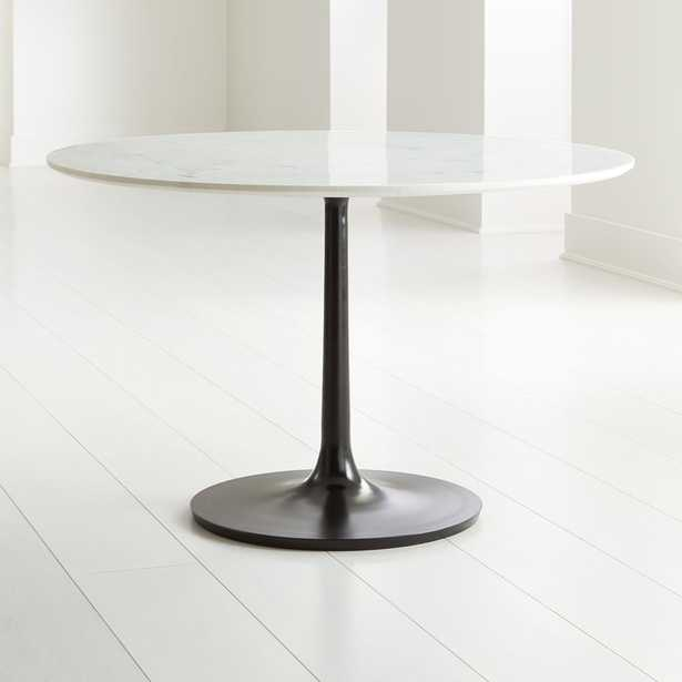"""Nero 48"""" White Marble Dining Table with Matte Black Base - Crate and Barrel"""