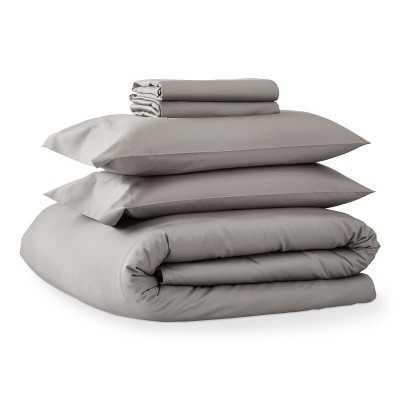 Chambers(R) Italian 300TC Sateen Sheet Set and Duvet Bedding Bundle, King, Gray - Williams Sonoma