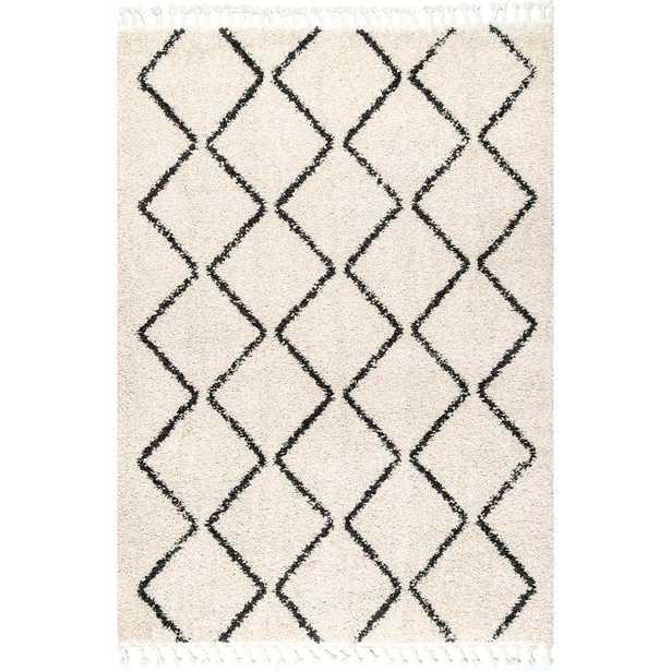nuLOOM Michelle Diamond Trellis Tassel Off White 6 ft. 7 in. x 9 ft. Area Rug - Home Depot