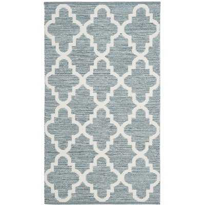ElianaHand-Woven Cotton Mint/Ivory Area Rug - Wayfair