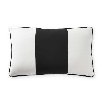 "Sunbrella Outdoor Wide Stripe Lumbar Pillow Cover, 14"" X 22"", Black - Williams Sonoma"