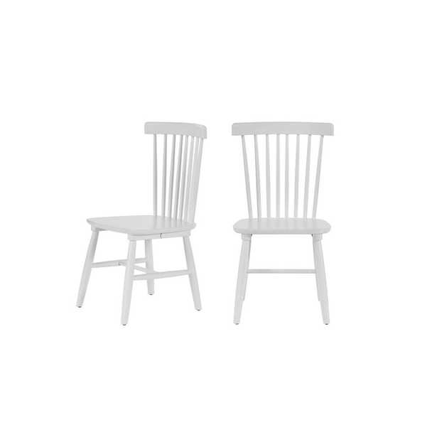 StyleWell White Wood Windsor Dining Chair (Set of 2) (19.50 in. W x 35 in. H) - Home Depot