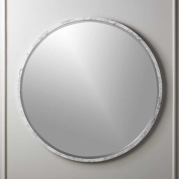 "White Marble Wall Mirror 36"" - CB2"