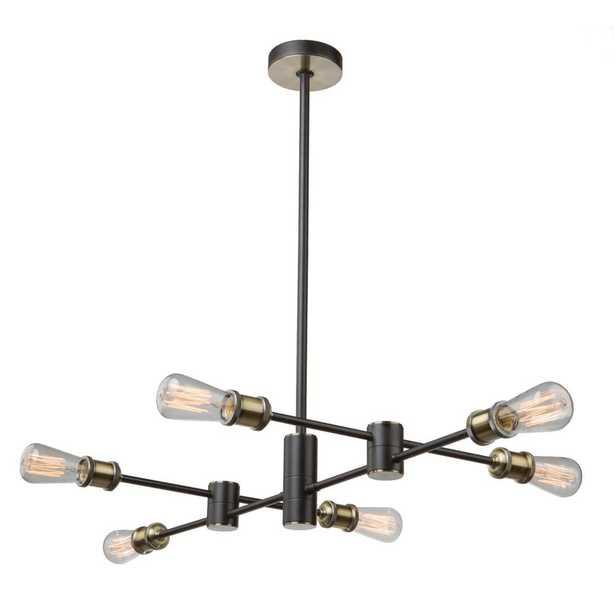 ARTCRAFT 6-Light Matte Black and Satin Brass Chandelier - Home Depot
