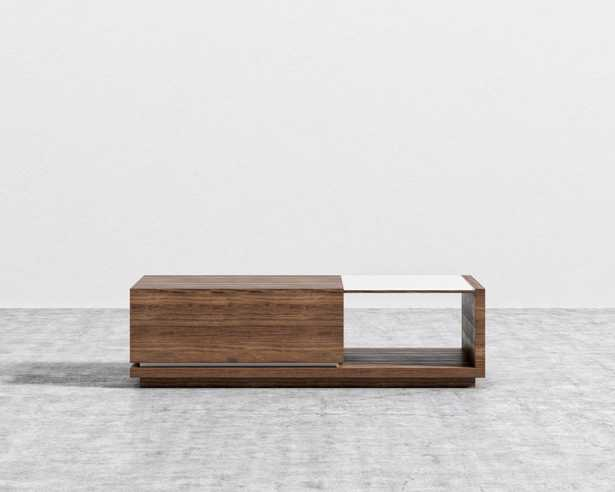 Truman Coffee Table - Walnut Veneer White Frosted Glass - Rove Concepts