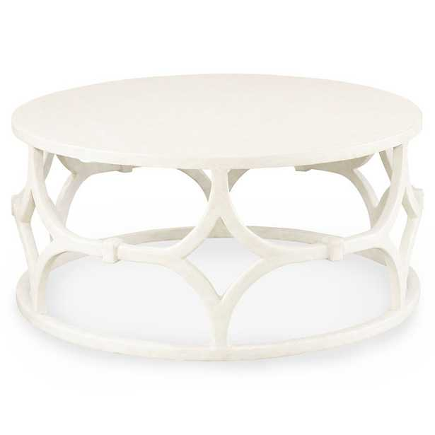 Mr. Brown Wolfgang Modern Classic White Trellis Round Coffee Table - Kathy Kuo Home