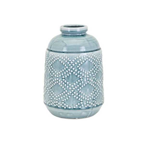 IMAX Felix Ceramic Blue Medium Vase - Home Depot