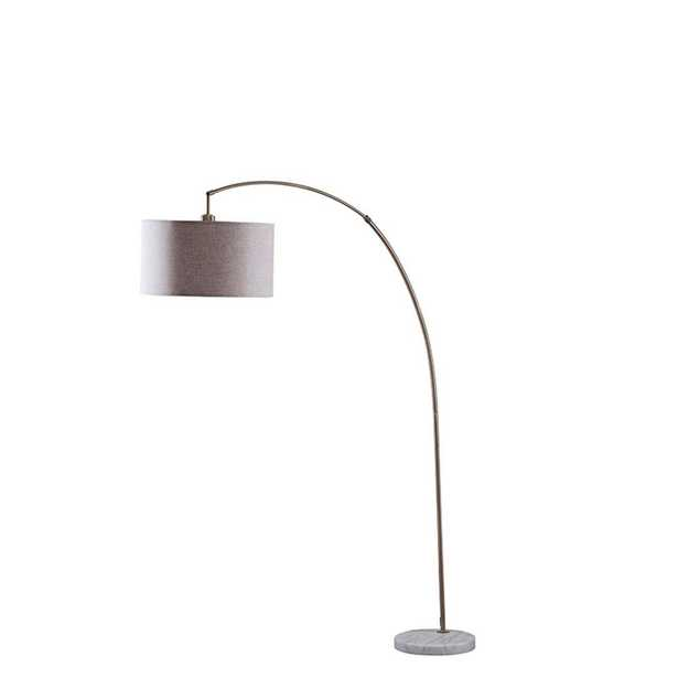 ORE International Bowery 86 in. Antique Gold and White Marble Arc Floor Lamp with Beige Linen Shade - Home Depot