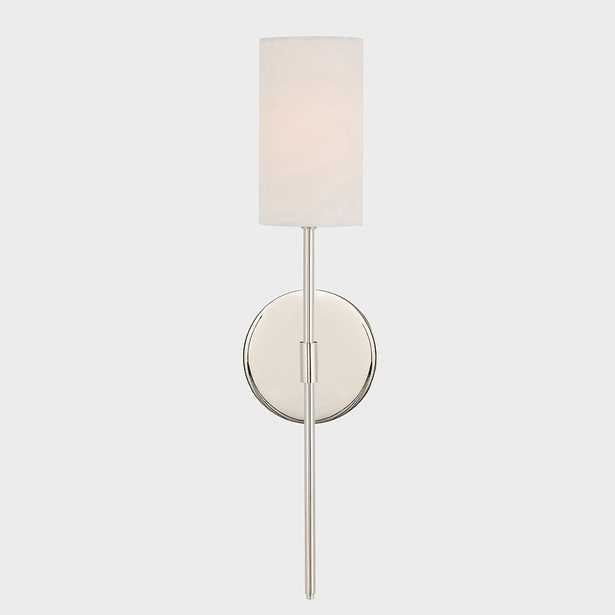 Fifth and Main Lighting Ollie 1-Light Polished Nickel Wall Sconce with White Linen Shade - Home Depot