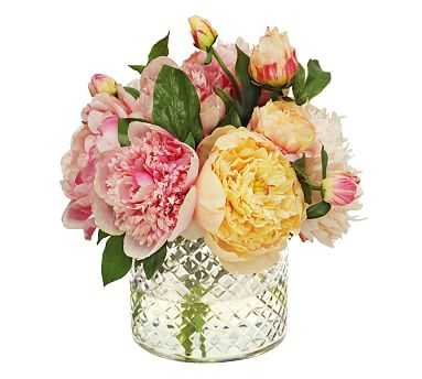 """Faux Pink Peony In Glass Vase, 12"""" - Pottery Barn"""