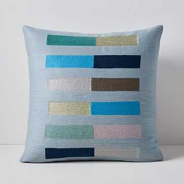 "Crewel Color Study Pillow Cover, 20""x20"", Skylight Blue - West Elm"