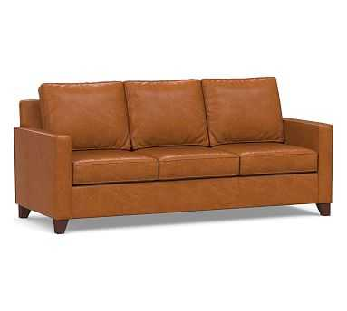 Cameron Square Arm Leather Sofa, Polyester Wrapped Cushions, Vintage Caramel - Pottery Barn