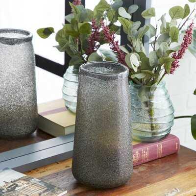"Modern Style Tall, Round Textured Metallic Silver Smoked Glass Vase Table Decor, 7"" X 14"" - Wayfair"