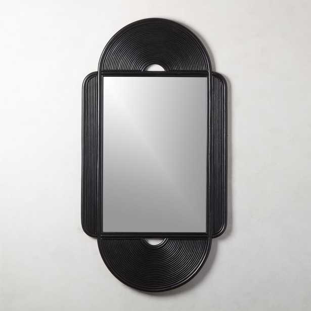 Iris Black Large Rattan Mirror - CB2