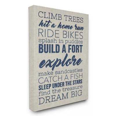 Climb Trees Dream Big Navy with Tan Oversized Textual Art - Wayfair
