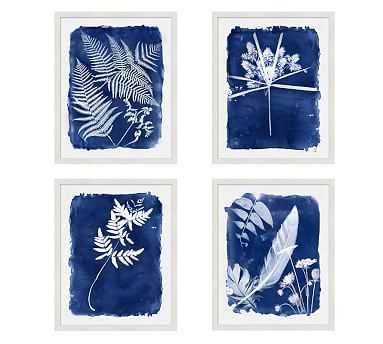 """Cyanotype Framed Prints, 16 x 20"""", Set of 4, - Pottery Barn"""