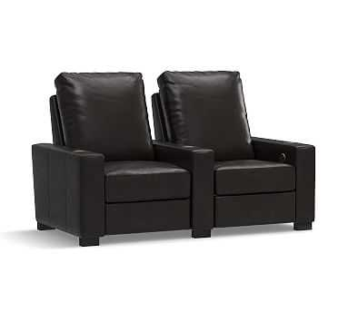 Turner Square Arm Leather 2-Piece Media Armchair Sectional, Down Blend Wrapped Cushions, Vintage Midnight - Pottery Barn