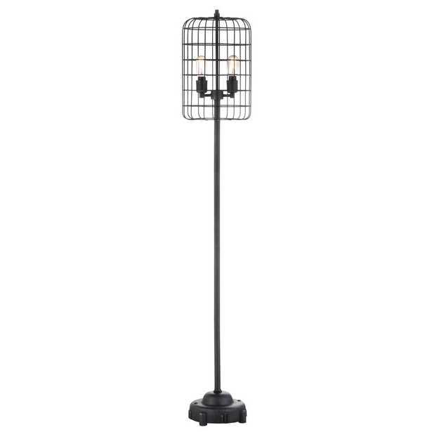 JONATHAN Y Odette 65 in. Black/Silver Industrial Metal Floor Lamp - Home Depot