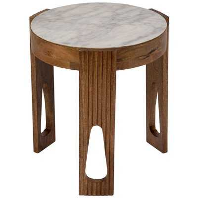 Briela Deco Marble and Wood End Table - Wayfair