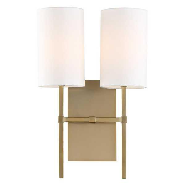 Crystorama Veronica 2-Light Aged Brass Sconce - Home Depot