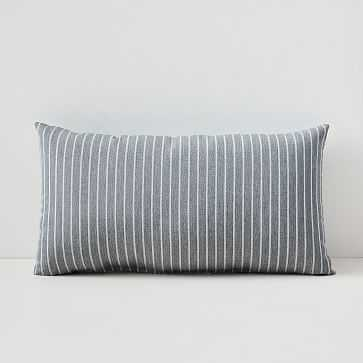 "Sunbrella Indoor/Outdoor Striped Lumbar Pillow, Smoke, 12""x21"" - West Elm"
