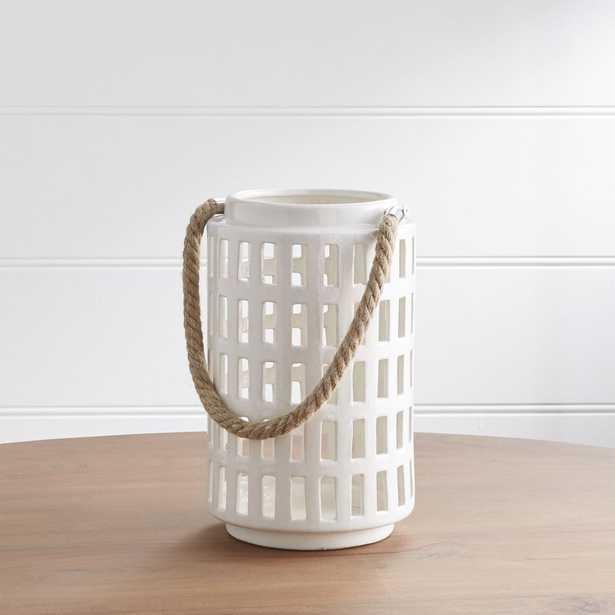 "Peek 10.75"" Ivory Ceramic Lantern - Crate and Barrel"