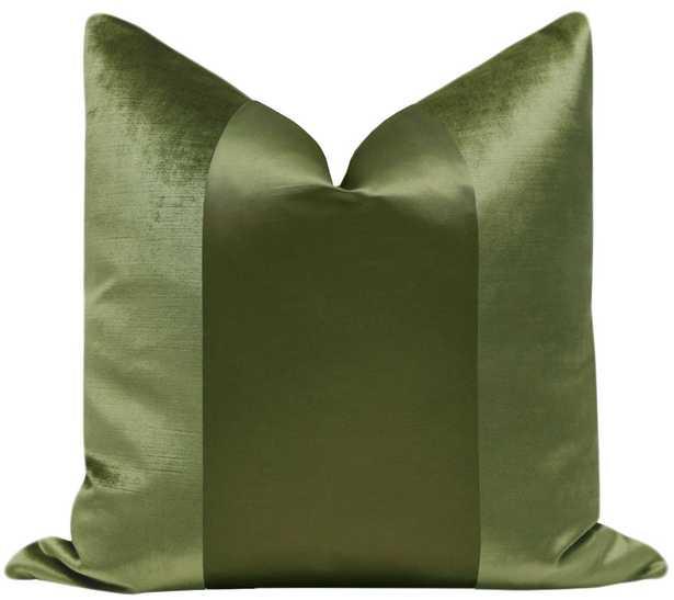 "PANEL Monochromatic :: Faux Silk Velvet // Olive - 18"" X 18"" - Little Design Company"