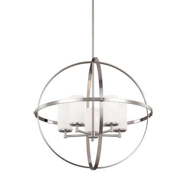 Sea Gull Lighting Alturas 27.25 in. W. 5-Light Brushed Nickel Single Tier Chandelier with Satin Etched Glass Shades - Home Depot