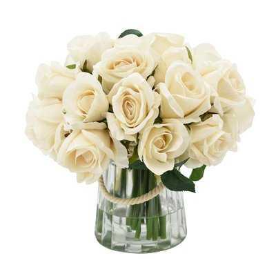 Cream Rose Centerpiece in Vase - Birch Lane