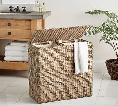 Perry Divided Hamper with Liners, Gray Wash - Pottery Barn
