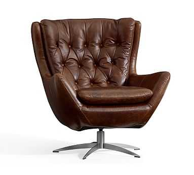 Wells Leather Armchair, Polyester Wrapped Cushions, Molasses - Pottery Barn