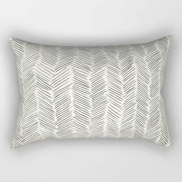 "Herringbone Black On Cream Rectangular Pillow - Small (17"" x 12"") - Society6"