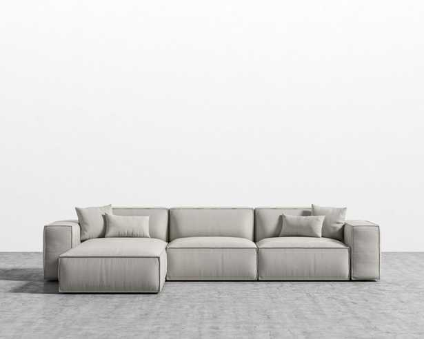 Porter Sectional - Oyster Black Plastic Left-hand-facing - Rove Concepts