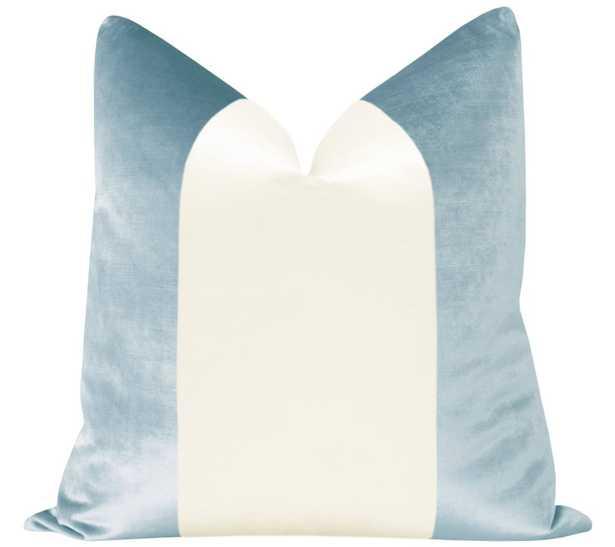 "PANEL :: Faux Silk Velvet // Sky Blue + Alabaster - 18"" X 18"" - Little Design Company"