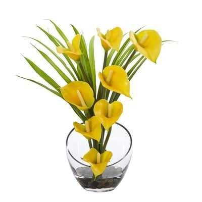 Calla Lily and Grass Artificial Floral Arrangement in Vase - Birch Lane