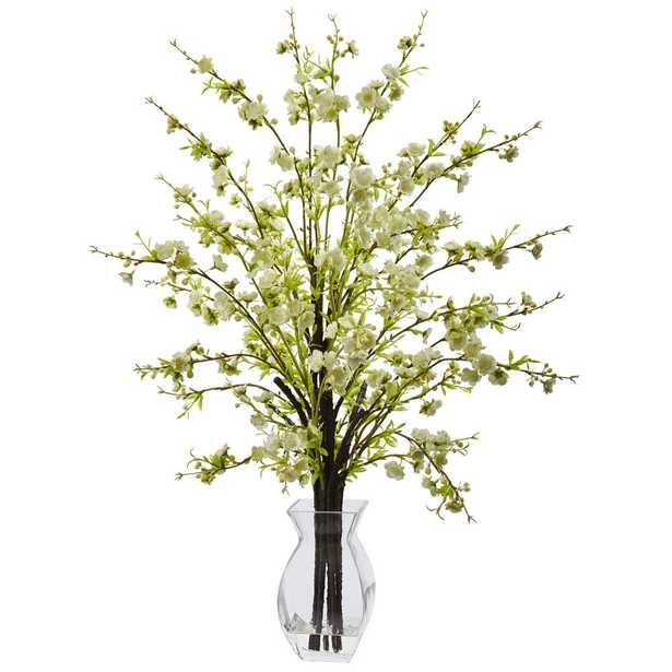 26 in. Cherry Blossom in Glass Vase in White - Home Depot