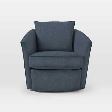 Duffield Swivel Chair, Twill, Indigo - West Elm