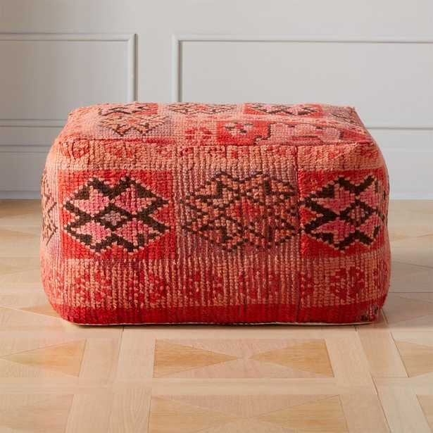 Moroccan Pink/Red Vintage Pouf/Floor Cushion - CB2