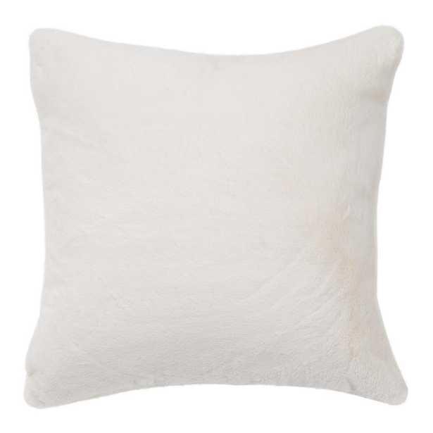 Luxe Cream (Ivory) Fur Pillow - Home Depot