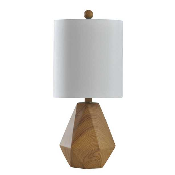 StyleCraft 20 in. Natural Wood Pattern Table Lamp with White Hardback Fabric Shade - Home Depot