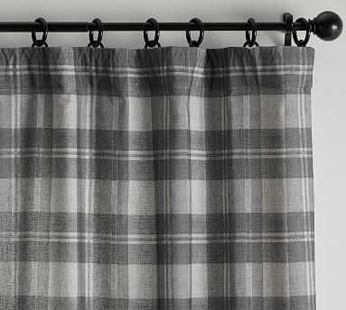 "Turner Plaid Print Curtain, Gray Multi, 96 x 50"" - Pottery Barn"