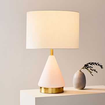 Metalized Glass Table Lamp + USB, Small, Blush, Antique Brass - West Elm