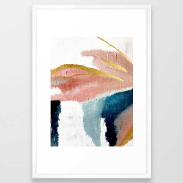 Exhale: a pretty, minimal, acrylic piece in pinks, blues, and gold Framed Art Print by Blushingbrushstudio - Vector White - Society6