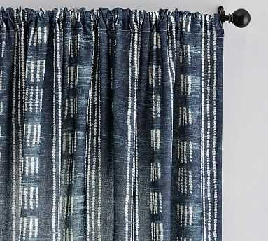 "Shibori Dot Linen/Cotton Rod Pocket Curtain, Blue, 96 X 50"" - Pottery Barn"