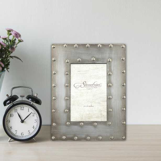1-Opening 4 in. X 6 in. Silver with Rivet Detail Picture Frame - Home Depot