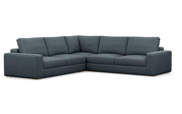 Ainsley Corner Sectional with Blue Rain Fabric, double down cushions, and Natural Oak legs - Interior Define
