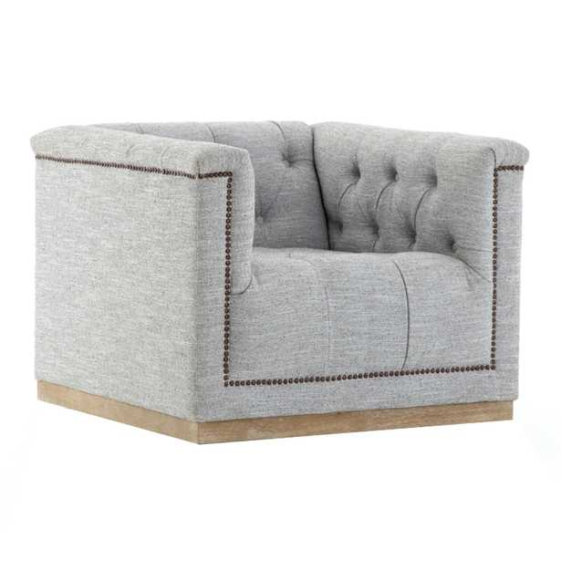 Stefie Modern Classic Button Tufted Upholstered Grey Swivel Chair - Kathy Kuo Home
