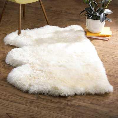 Allison Handwoven Sheepskin White Area Rug - AllModern